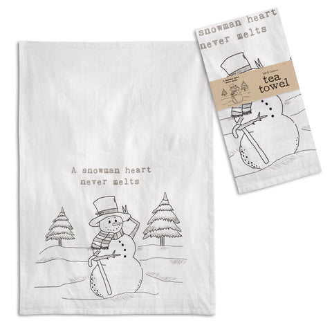A Snowmans Heart Tea Towel