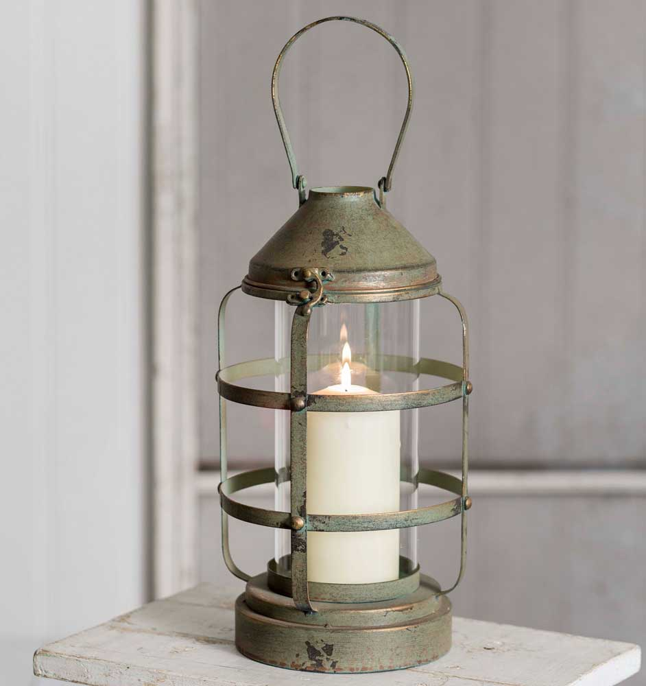 Ribbed Pillar Candle Lantern