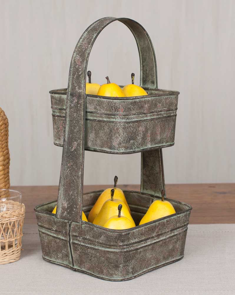 Two Tier Square Metal Tote TN810278