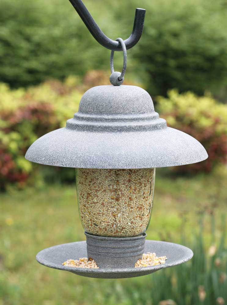 Quart Mason Jar Bird Feeder - Barn Roof