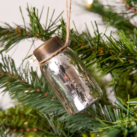 Glass Mini Mason Jar Hanging Christmas Ornament - Mercury Silver