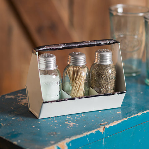 Toolbox Salt, Pepper, and Toothpick Caddy - White