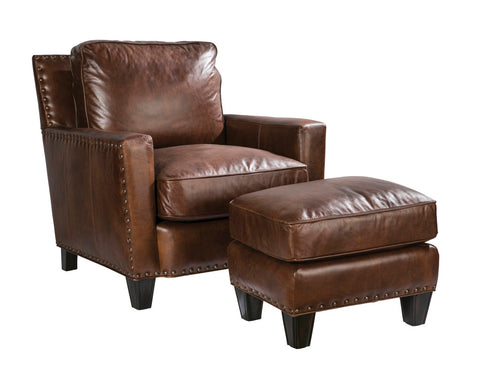 Palatial Leather Alvarado Suite Chair and Ottoman
