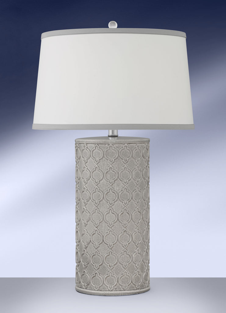 Contemporary Grey Ceramic Crackle Finish Table Lamp 896DWHG