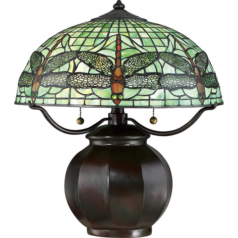 Quoizel Arts & Crafts Green Dragonfly 18-inch Tiffany-Style Table Lamp Valiant Bronze STY6073VA