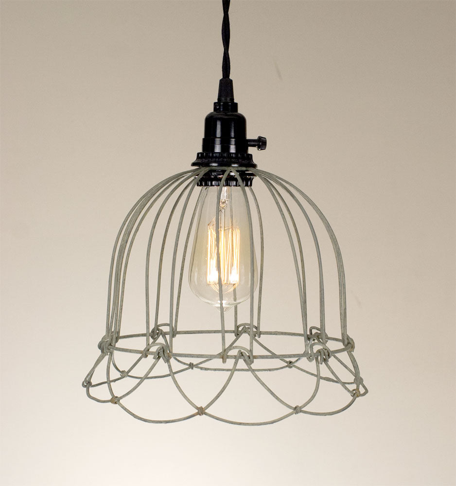 Small Wire Bell Pendant Lamp - Barn Roof