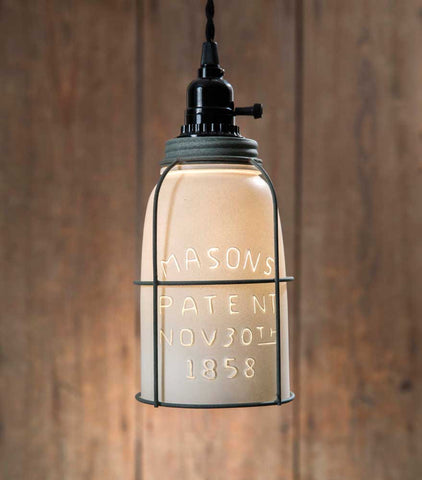 Sale! White Half Gallon Caged Mason Jar Pendant Lamp - Barn Roof Lid