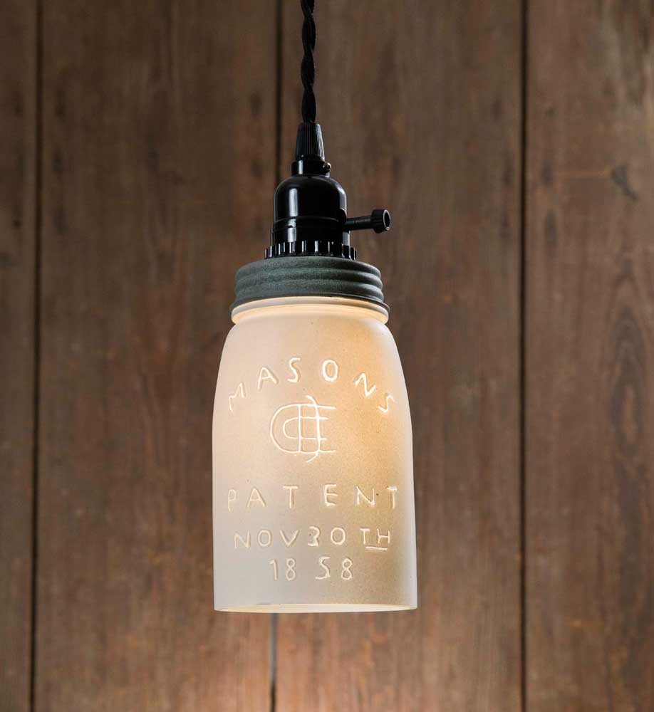White Quart Mason Jar Pendant Lamp - Barn Roof Lid