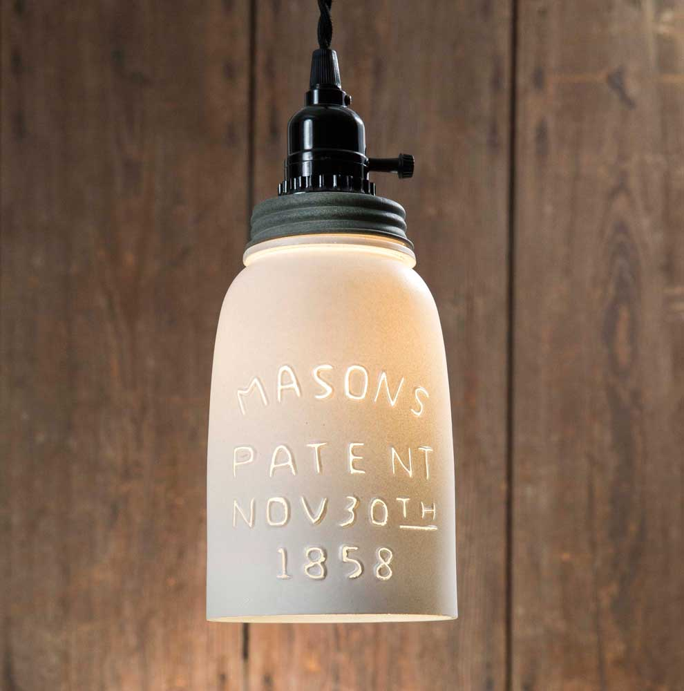 White Half Gallon Mason Jar Pendant Lamp - Barn Roof Lid