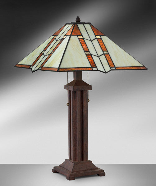 Mission Arts and Crafts Dark Antique Bronze Resin Steel Table Lamp 952LMTB