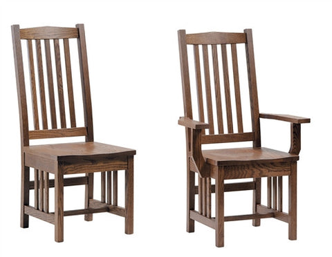 AMISH MISSION CLASSIC OAK DINING CHAIR Set of 6 (2 arms, 4 sides) AM 051