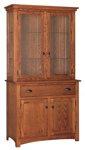 MISSION OAK 2 DOOR CHINA HUTCH WITH TOUCH LIGHTING AM 066