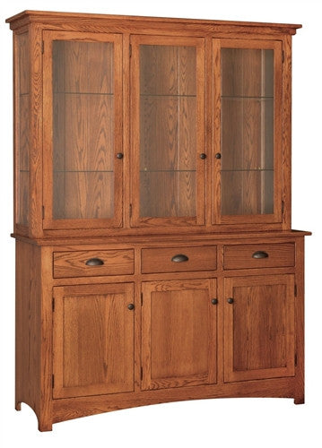 MISSION OAK 3 DOOR CHINA HUTCH WITH TOUCH LIGHTING AM 067