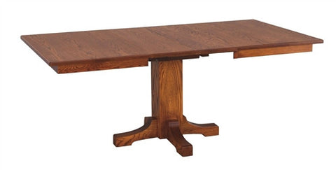 AMISH TRANSITIONAL MISSION SINGLE PEDESTAL DINING TABLE AM 087