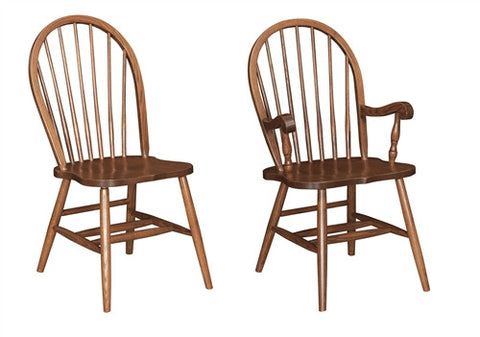 AMISH OAK BOW BACK SIDE CHAIR set of 6 (2 arms, 4 sides) AM 151