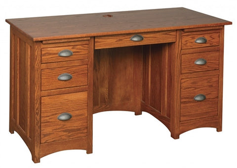 "MISSION OAK 55"" DESK WITH 2 FILE DRAWERS AM 198"