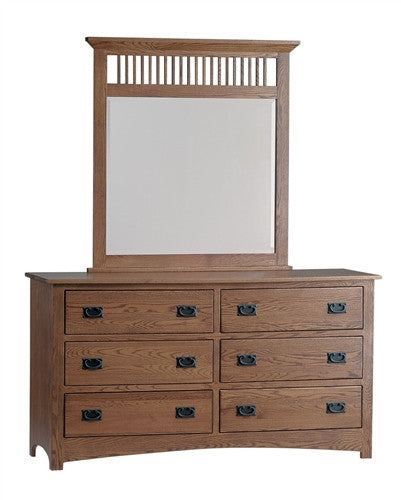 "PIONEER MISSION OAK 63"" DRESSER WITH MIRROR AM 201 / 208"