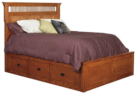 PIONEER MISSION OAK 6 DRAWER PLATFORM QUEEN BED AM 215D6