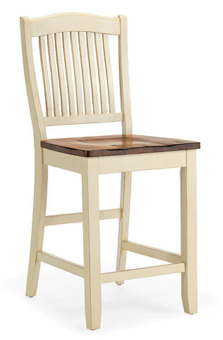 Mastercraft GS Furniture Beaver Creek Buttermilk Slat Back Stool BC107W24RB