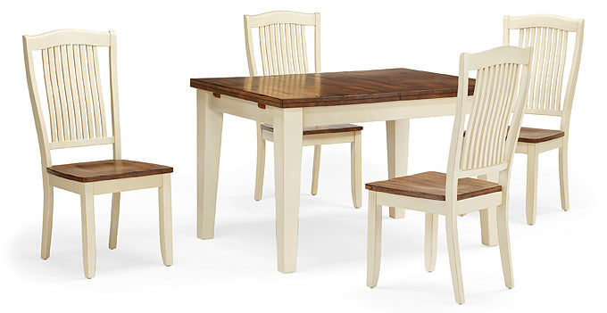 "Mastercraft GS Furniture Beaver Creek Buttermilk Leg Table with 1 - 12"" Leaf BC2C3660RB"