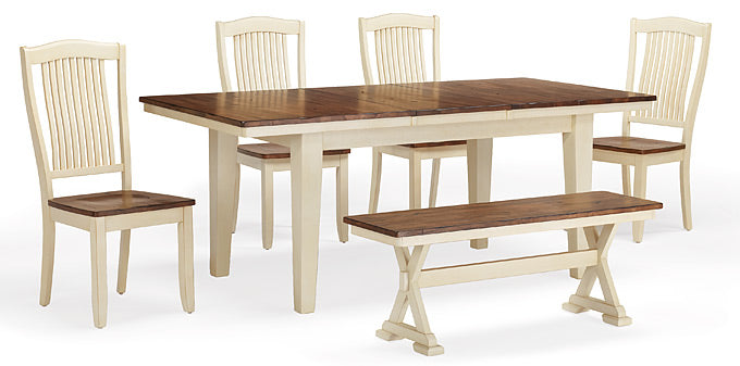 "Mastercraft GS Furniture Beaver Creek Buttermilk Leg Table with 1 - 18"" Leaf BC2T3878RB"