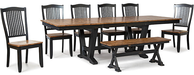 Mastercraft GS Furniture Beaver Creek Ebony Trestle Table BC2T38102RE