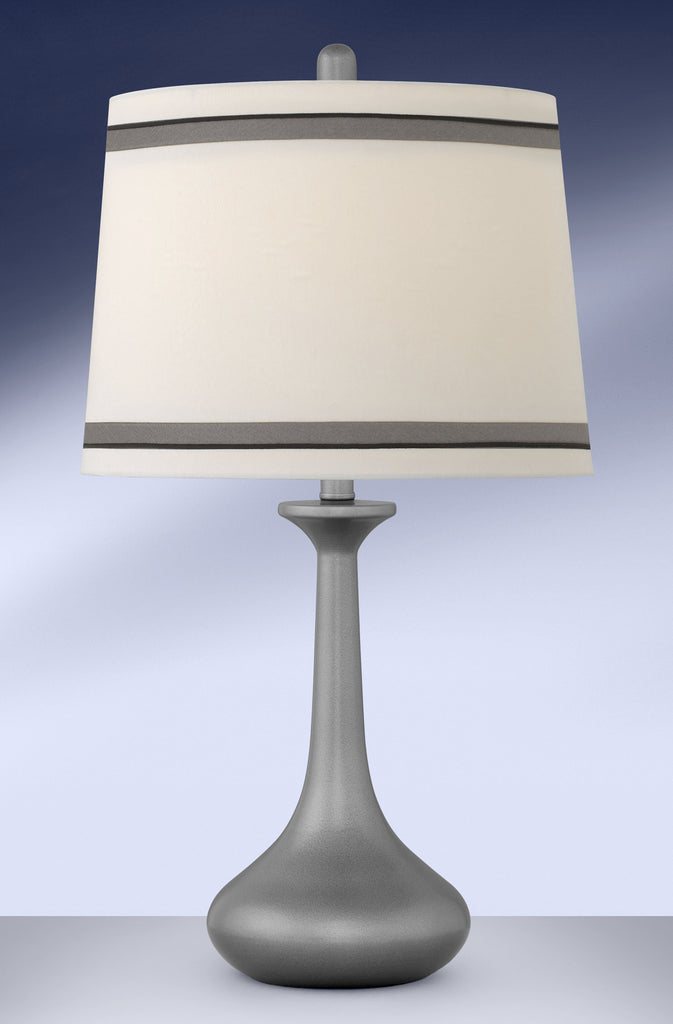 Contemporary Gunmetal Silver Trim Shade Table Lamp GM700DSTB