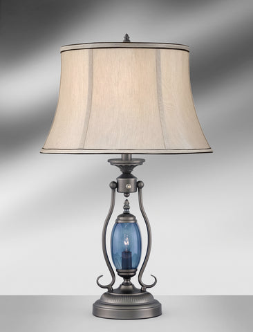 Traditional Blue Glass with Night Light Table Lamp GM789GDB