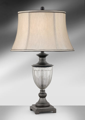 Traditional Greek Translucent Glass and Steel Table Lamp GMM965GDB
