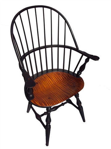 Lawrence Crouse Sack Back Arm Chair with Tiger Maple Seat