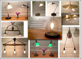 Hand Made Vintage Wooden Pulley Light Fixture with wire cages