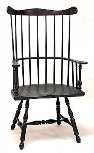 Lawrence Crouse New England or Pennsylvania 9 Spindle Fan Back Arm Chair
