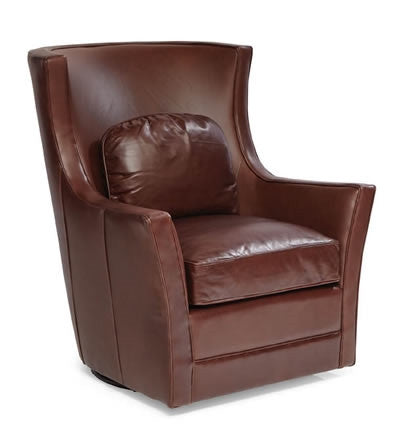 Palatial Leather Kirby Swivel Chair