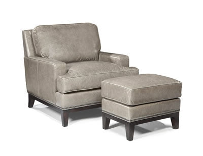 Palatial Leather Metro Chair and Ottoman