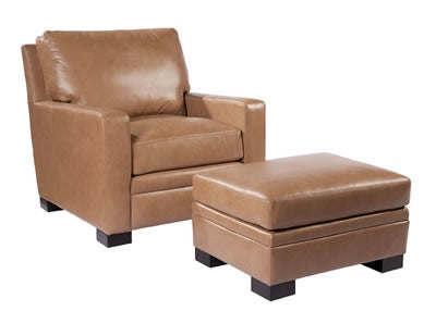 Palatial Leather Nolan Chair and Ottoman
