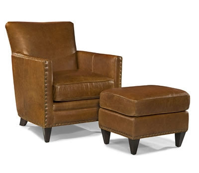 Palatial Leather Logan Chair and Ottoman
