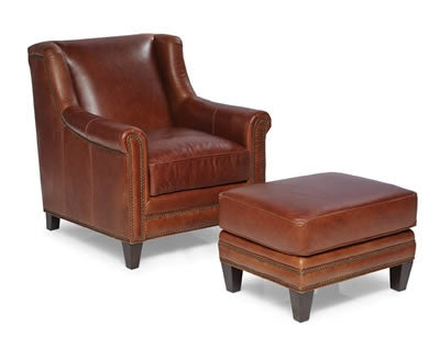 Palatial Leather Pendleton Chair and Ottoman