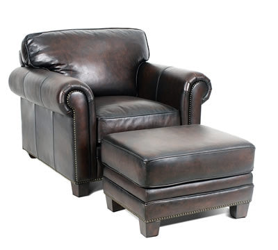 Palatial Leather Hillsboro Chair and Ottoman