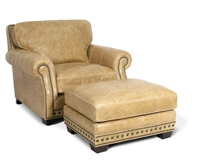Palatial Leather Canyon Chair and Ottoman