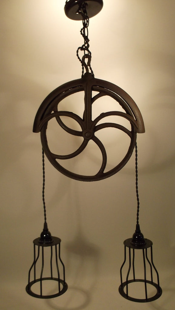 Vintage IRON Well Pulley Light Fixture twin cages
