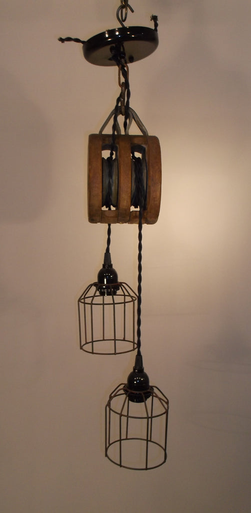 Hand Made Vintage Wooden Pulley Light Fixture with wire cages ...