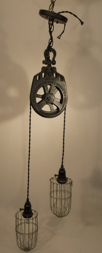 Hand Made Vintage IRON Pulley Light Fixture twin wire cages