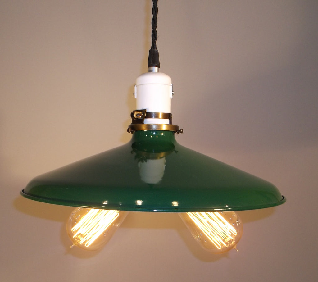 "Hand Made  12""  Enamel Shade Double Edison Bulb Hanging Light ,Red, White, Green , Black"