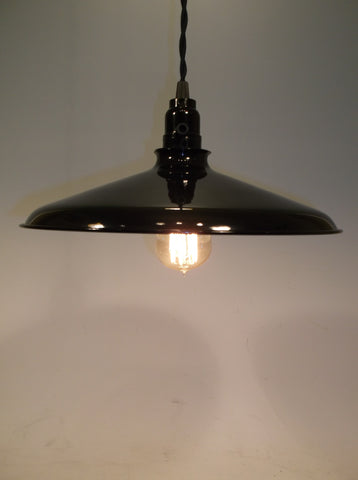 "Hand Made  12""  Enamel Shade Single Edison Bulb Hanging Light Red, White, Green , Black"