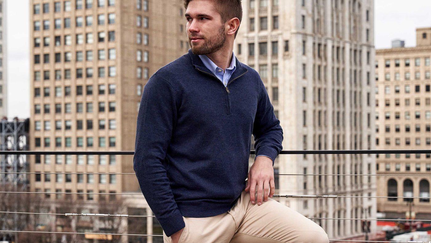Blue Ink Quarter-Zip Sweater