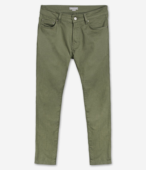Olive Green 5-Pocket Twill