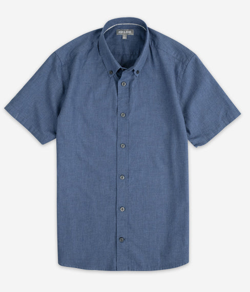 Heather Cobalt Blue Short Sleeve Everyday Shirt