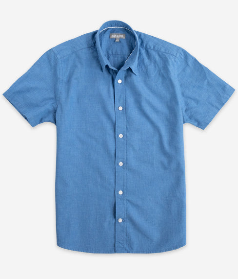 Heather Slate Blue Short Sleeve Everyday Shirt