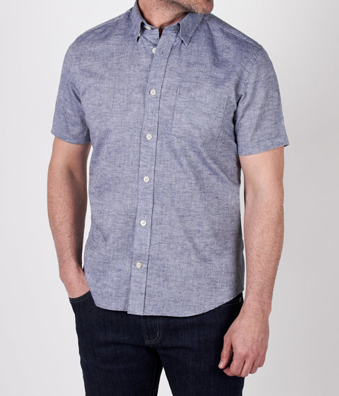 Basin Blue Linen Short Sleeve Shirt