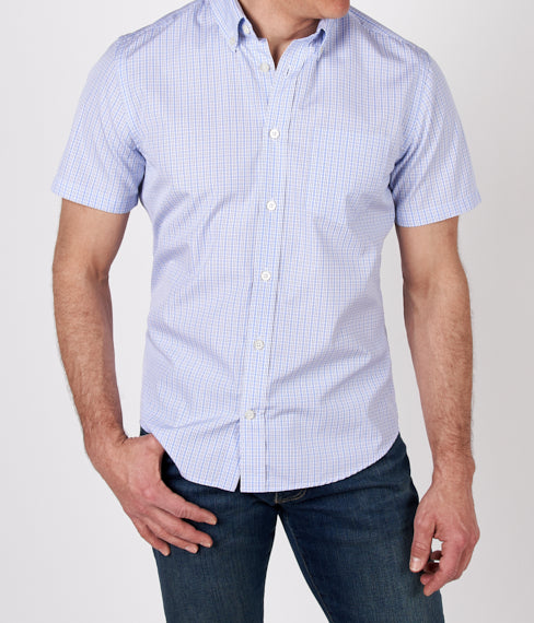 Blue Tattersall Short Sleeve Shirt